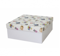 Коробка подарочная 245*245*100 мм, дизайн 2020-8, белое дно