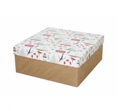 Коробка подарочная 245*245*100 мм, дизайн 2020-11, крафт дно