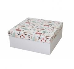 Коробка подарочная 245*245*100 мм, дизайн 2020-11, белое дно