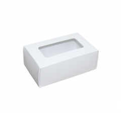 Размер 100*60*40 мм, белая коробка с окном