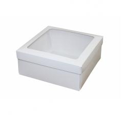 Коробка 190*190*80 мм, дп32 белая с окном
