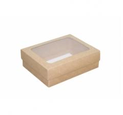 Коробка сборная, крафт с окном 190*150*60 мм