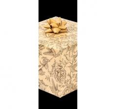Бумага подарочная крафт 70 см*200 см, колибри и цветы